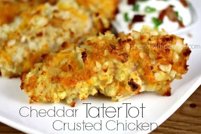 cheddar tater tot crusted chicken