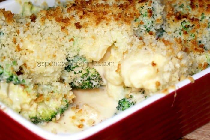 Cheesy broccoli cauliflower bake no condensed soup for Broccoli casserole with fresh broccoli