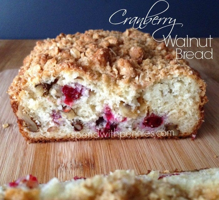Cranberry Walnut bread is soft and delicious with tart cranberries and an irresistible streusel topping!