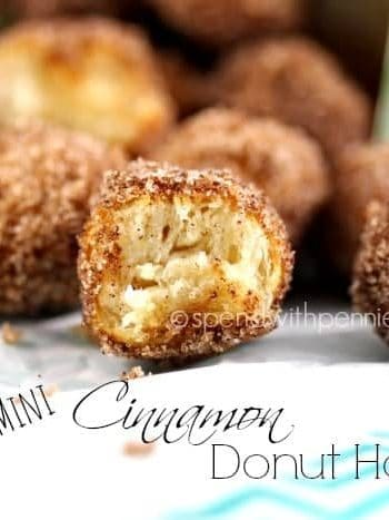 close up of mini cinnamon donut holes