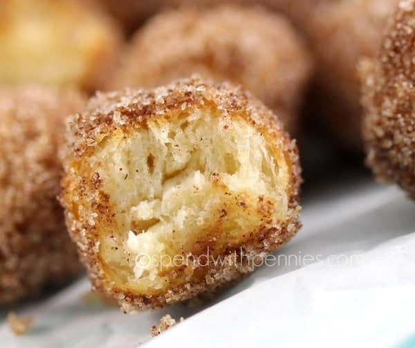 Mini Cinnamon Donut Holes! If you like the mini donuts at the fair, you'll LOVE these! Easy & quick, little treats need just 3 ingredients!