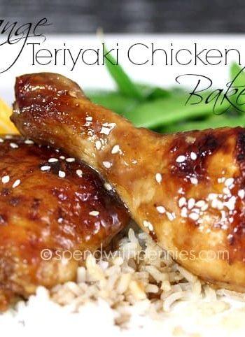 closeup of orange teriyaki chicken with rice