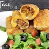a plate full of taco egg rolls