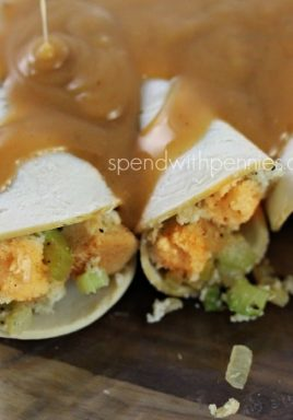 Turkey Stuffing Roll Ups! All of the yummy flavors of turkey dinner wrapped up in little bundles for a delicious and quick dinner!