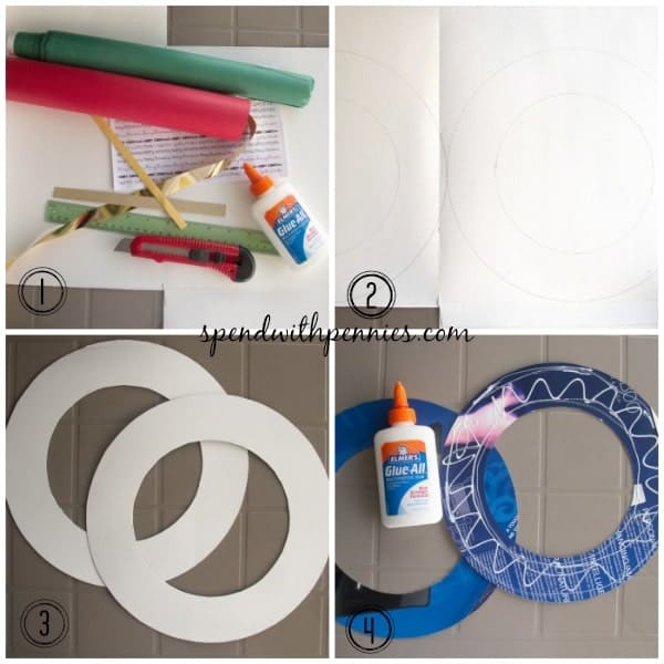 wrapping paper wreath 1-4