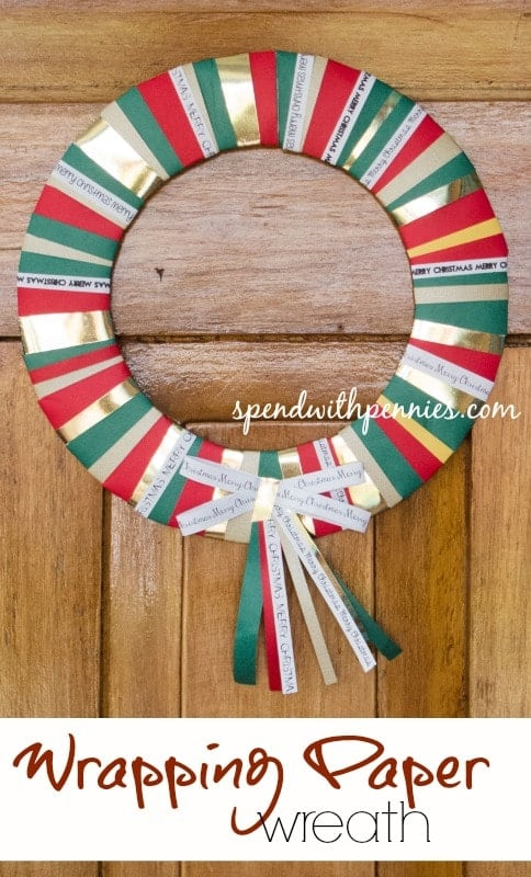 wrapping paper wreath titled