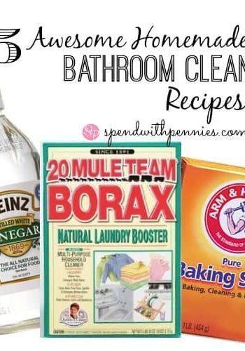 bottle of vinegar, box of borax and box of baking soda