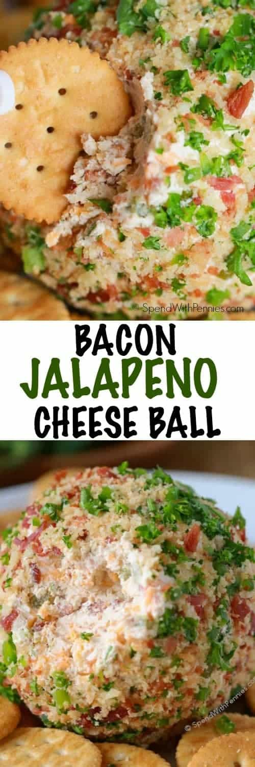 This Bacon Jalapeño Cheese Ball recipe is easy to make and a hit at every party. A creamy base is loaded with crispy smokey bacon, spicy jalapenos and sharp cheddar for a perfect party snack.