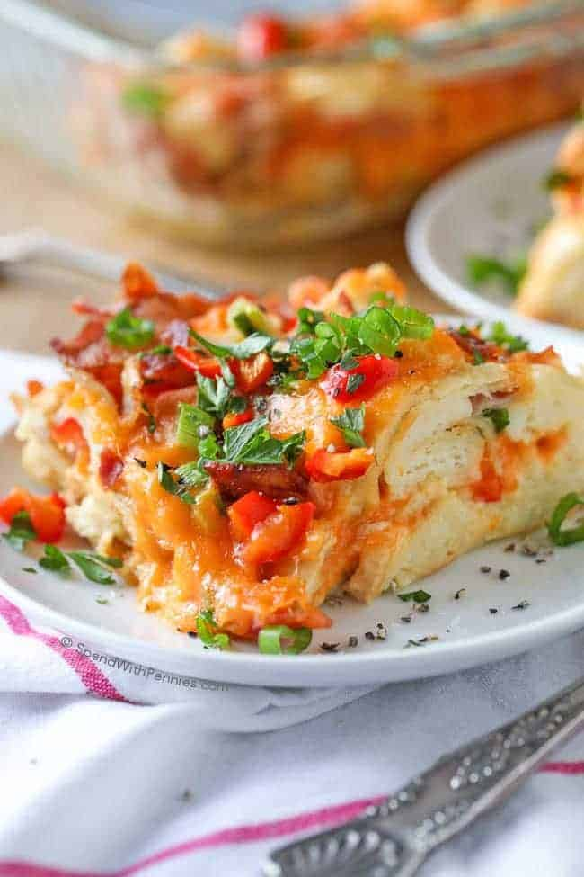 Single Slice of Breakfast Casserole with Bacon on Plate