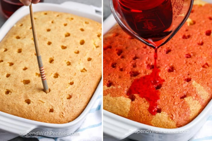 Left image - white cake with holes being poked into it. Right image - jello being poured over white cake.