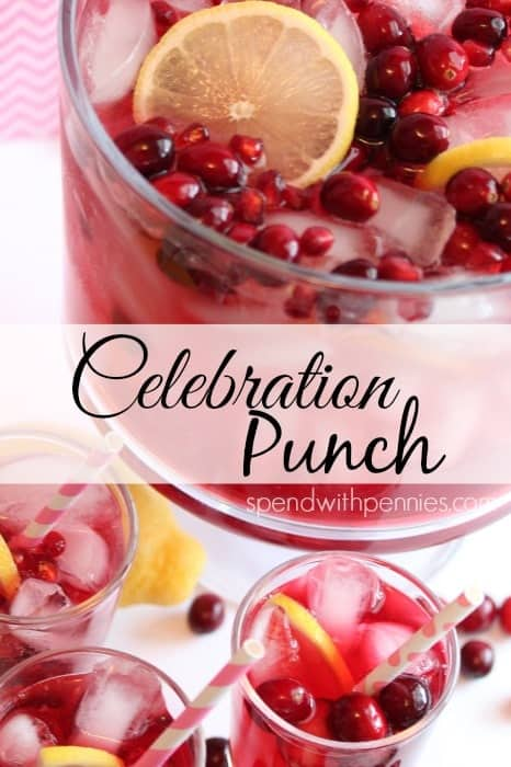 close up of glasses of celebration punch with punch bowl