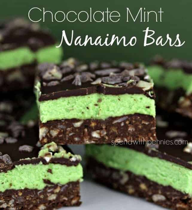 Chocolate Mint Nanaimo Bars!  These are delicious at any time of year and best of all, they are an easy no bake recipe!