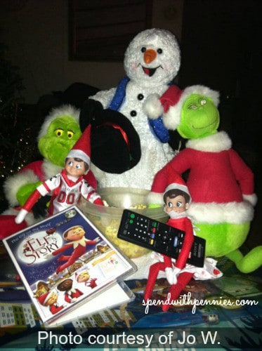 Elf on the Shelf is having movie night with Frosty and The Grinch
