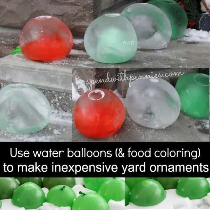 Frozen water balloon yard ornaments spend with pennies for Water balloon christmas decorations