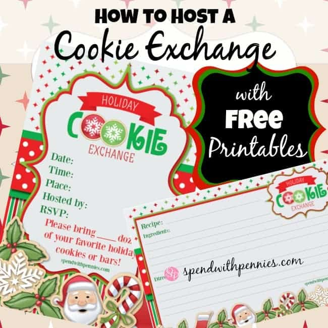 cookie exchange invite and recipe card