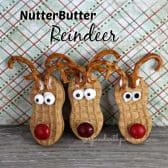 3 nutter butter reindeer with pretzel ears