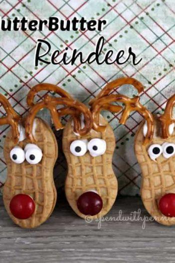3 nutter butter reindeer with pretzel ears