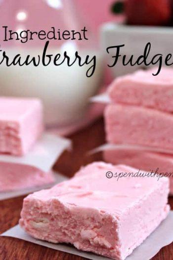 squares of 2 ingredient strawberry fudge