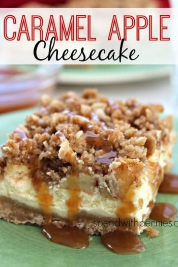 a slice of Caramel Apple Cheesecake with caramel sauce