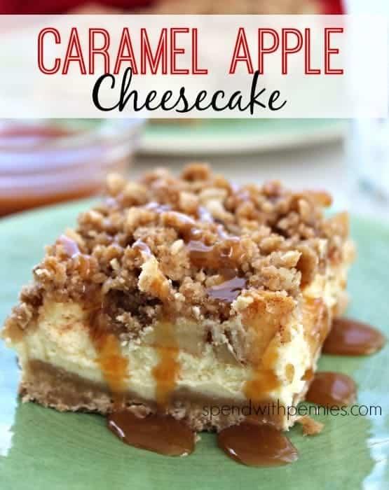 Caramel Apple Cheesecake #dessert #cheesecake #recipe