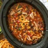 Crock Pot Chicken Tortilla Soup in a slow cooker