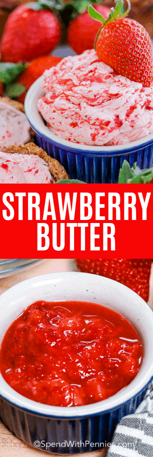 strawberry butter in a dish garnished with a strawberry, a dish of strawberry puree