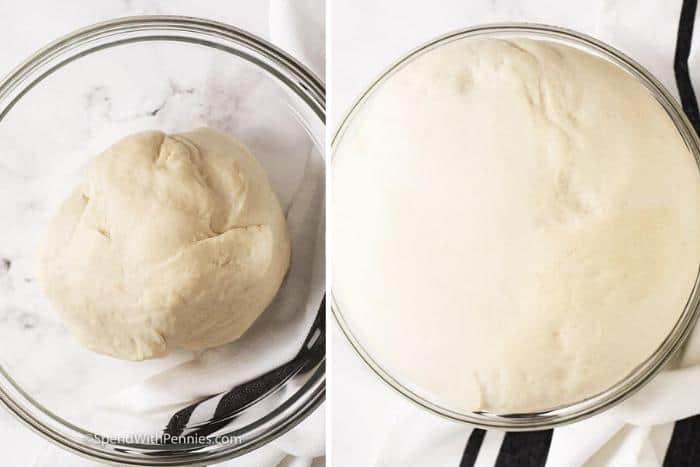 Rising dough in a glass bowl to make soft pretzel