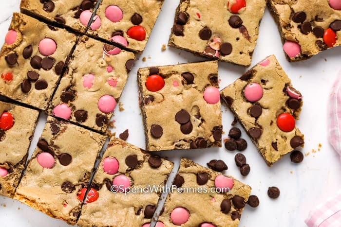 Valentines Blondies cut into squares