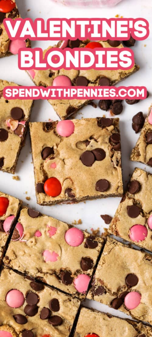 Valentines Blondies with a title