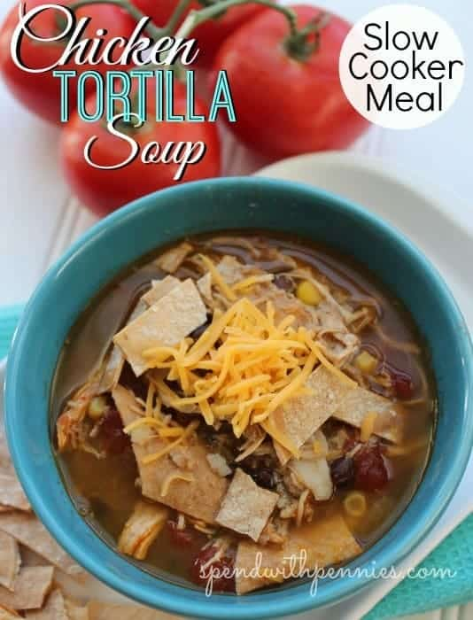 chicken tortilla soup in the slow cooker