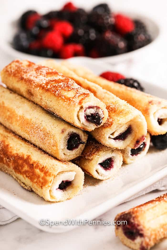french toast roll ups on a plate