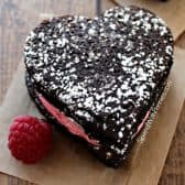 raspberry stuffed brownies in a heart shape
