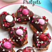 Decorated Valentines Pretzels on a white plate