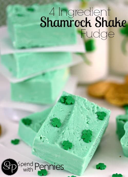 4 ingredient shamrock fudge with shamrock shaped sprinkles