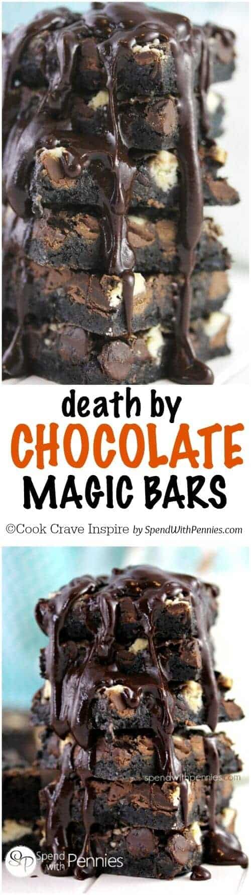 Death by Chocolate Magic Cookie Bars - Spend With Pennies
