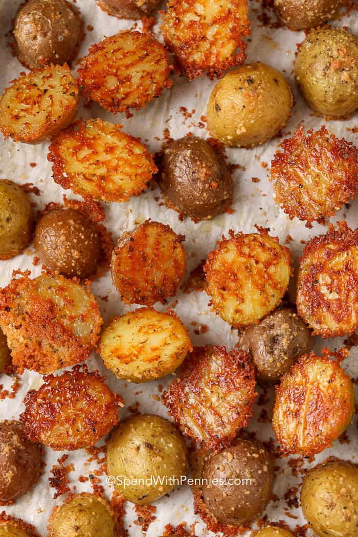 Parmesan Crusted Potatoes ready to serve