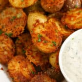 Parmesan Crusted Potatoes with dip