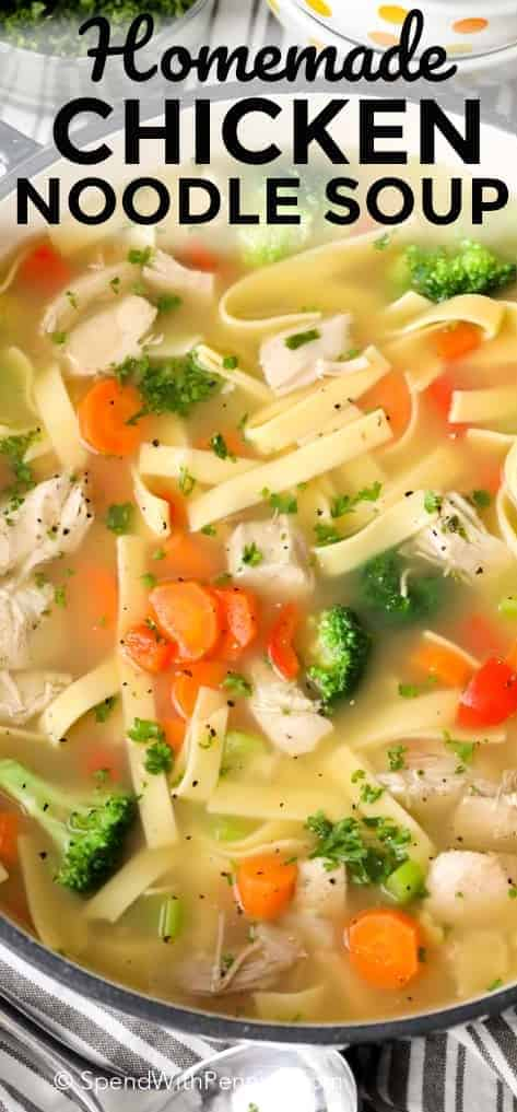 Homemade Chicken Noodle Soup with a title