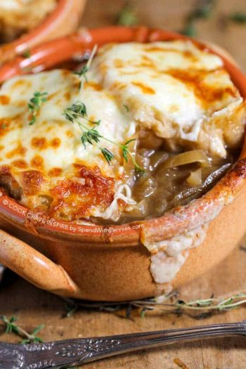 French Onion Soup shown close up