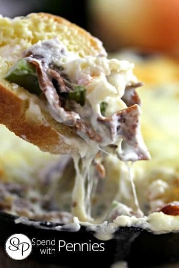 This Philly Cheesesteak Dip is one of my favorites! Creamy and cheesy and loaded up with great flavor, its delicious! It's great served with pita chips!