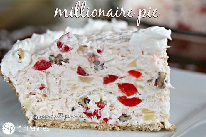 a slice of Millionaire Pie loaded with coconut, pineapple, cherries and pecans.