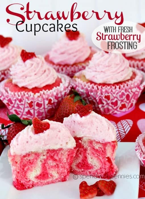 Strawberry Cupcakes with Fresh Strawberry Buttercream Frosting! Deliciously perfect!