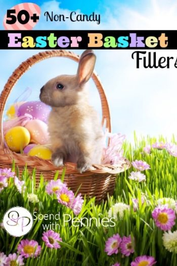 A bunny in a basket with eggs in the grass
