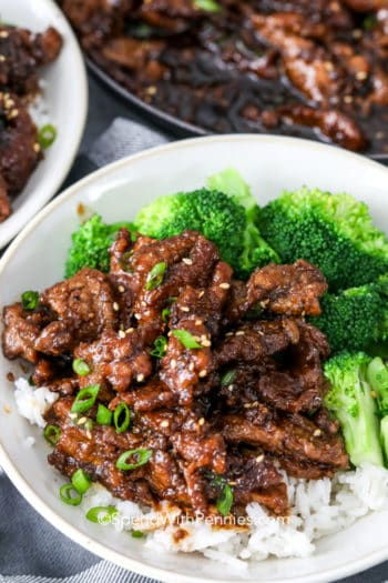 Mongolian beef on rice with broccoli