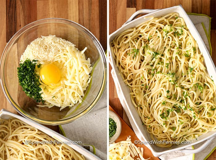 Left image - cheese, egg, and seasonings being combined in a glass bowl. Right image - spaghetti mixed with egg mixture in the casserole dish.