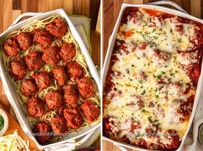 Left image - spaghetti topped with meatballs. Right image - prepared spaghetti and meatball pasta bake.