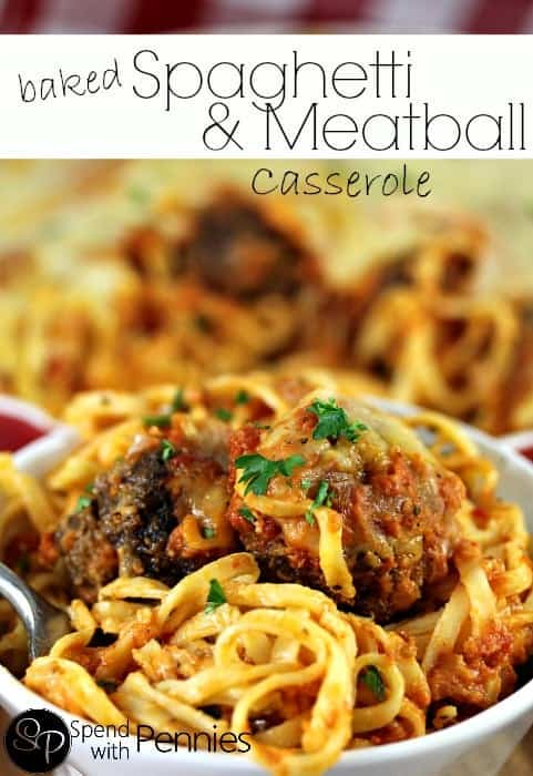 We LOVED this easy Baked Spaghetti Casserole with Meatballs! The noodles are tossed up with a cheesy sauce and then topped with homemade meatballs and pasta sauce! This is a great meal for a cold night, it makes the perfect comfort food!!