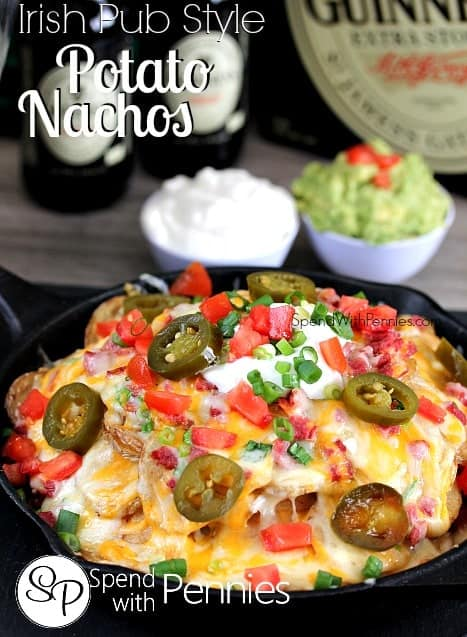 potato nachos topped with cheese and sour cream and jalapenos with a title