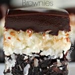 Brownies topped with coconut and chocolate
