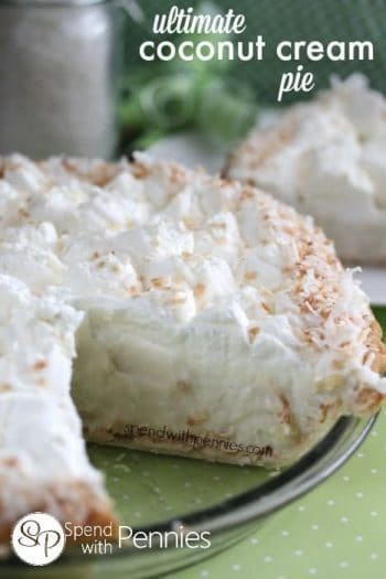 Coconut cream pie in a pie plate